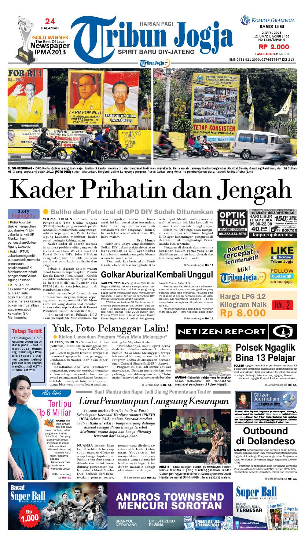 Tribunjogja 02 04 2015 By Tribun Jogja Issuu Produk Ukm Bumn Jamu Kunyit Asam Seger Waras
