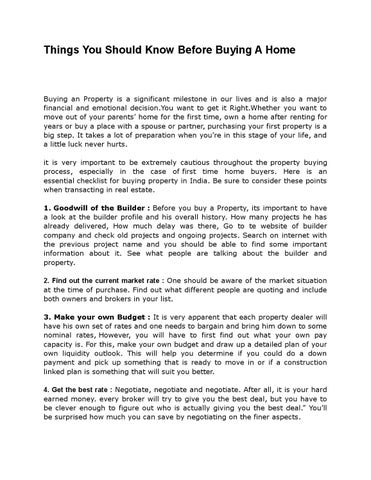 Page 1. Things You Should Know Before Buying A Home