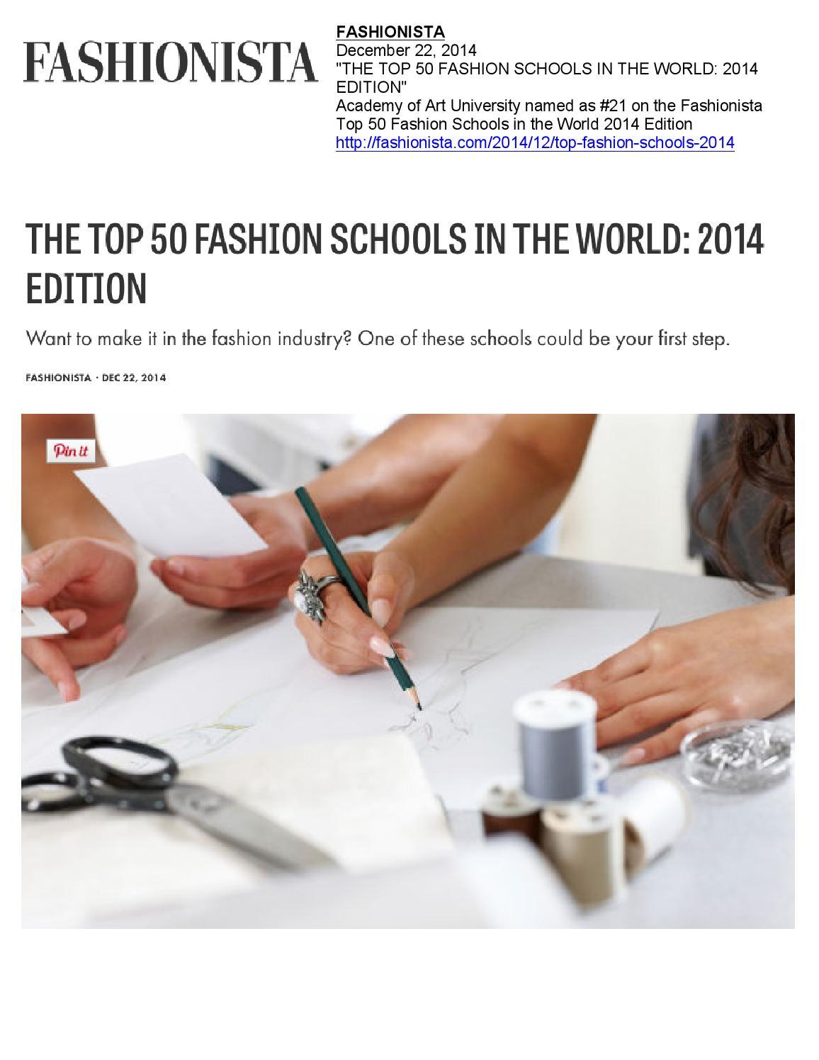12 22 2014 Fashionista By Academy Of Art University School Of Fashion Issuu