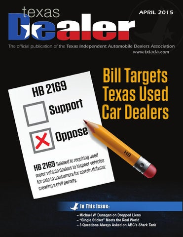 Texas Dealer, April 2015 by Texas Independent Auto Dealers