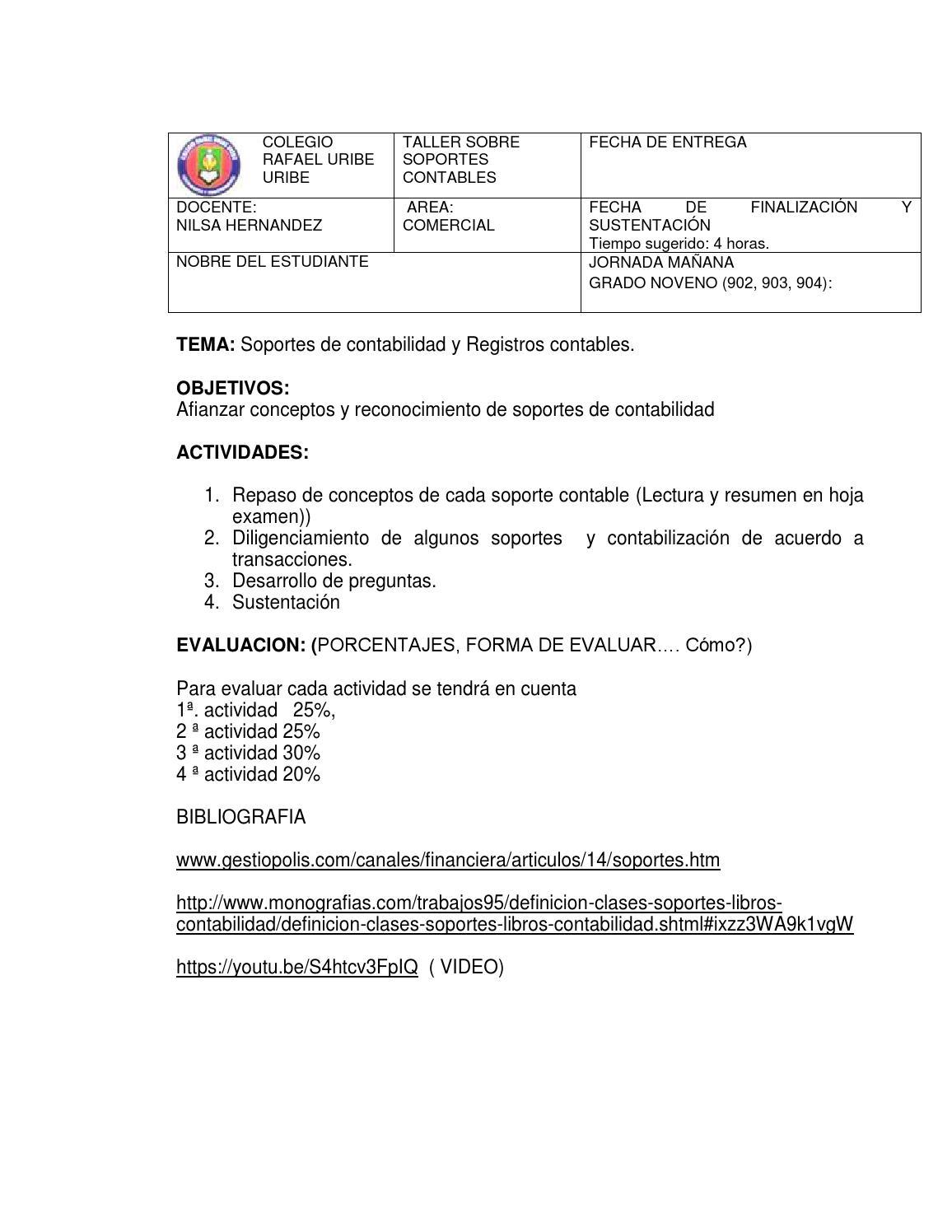 Taller grado 9 nivelación primer periodo gestion contable by ...