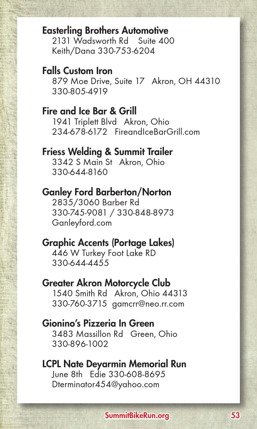 Ganley Ford Barberton >> 2015 Greater Akron Area Motorcycle Events Calendar by ...