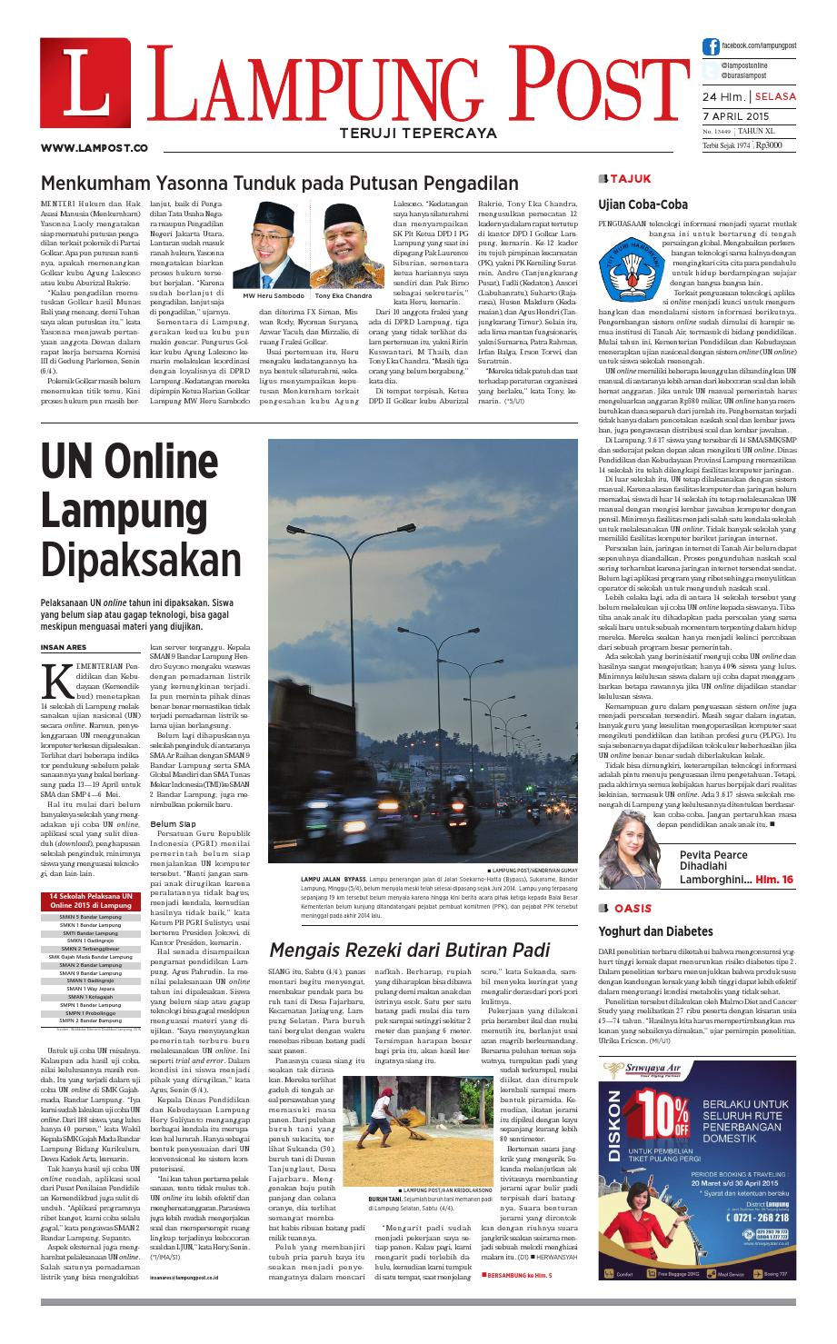 Lampung Post Selasa 7 April 2015 By Lampung Post Issuu # Muebles Koyga Vigo