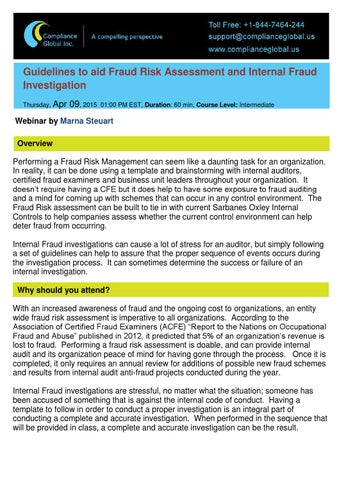 Product document template 700042 by compliance global inc issuu guidelines to aid fraud risk assessment and internal fraud investigation thursday apr maxwellsz
