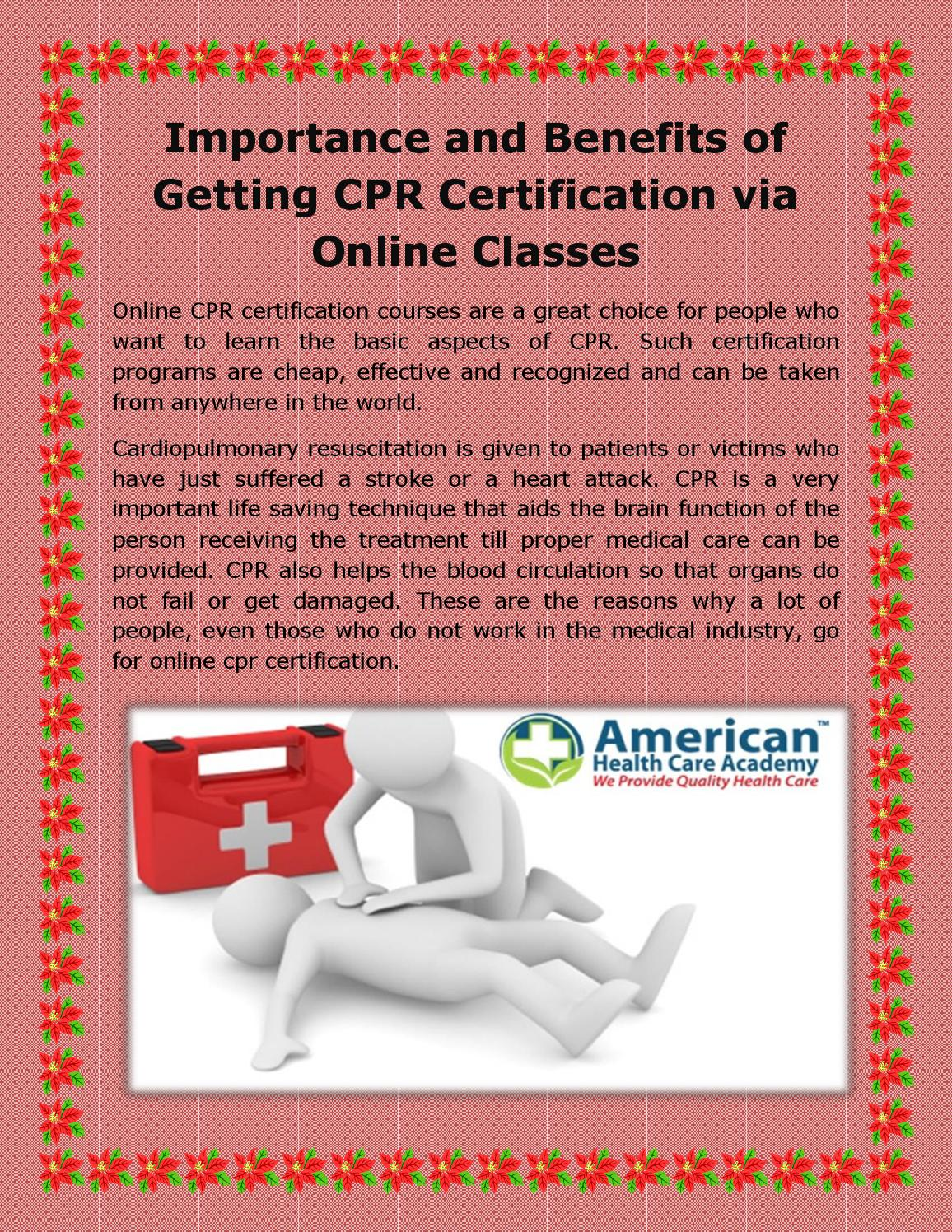 Importance And Benefits Of Getting Cpr Certification Via Online