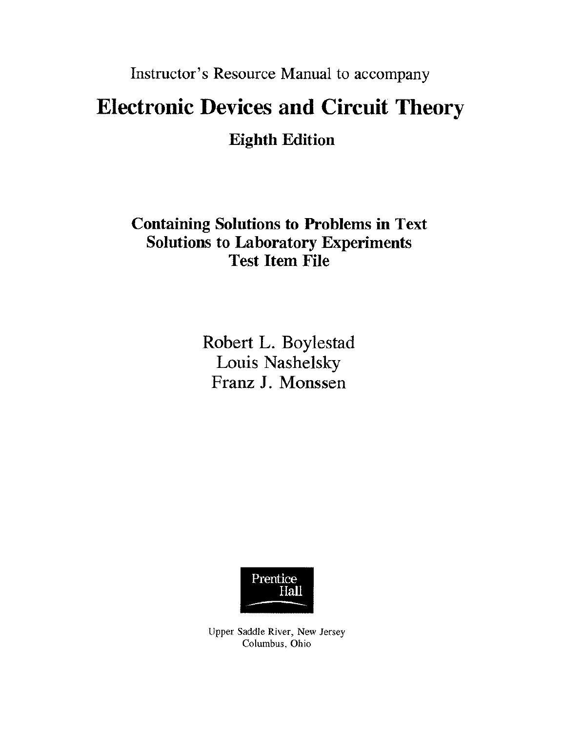 Solutions electronic devices and circuit theory nashelsky & boylestad 8th  edition by Faheem Ajmal - issuu