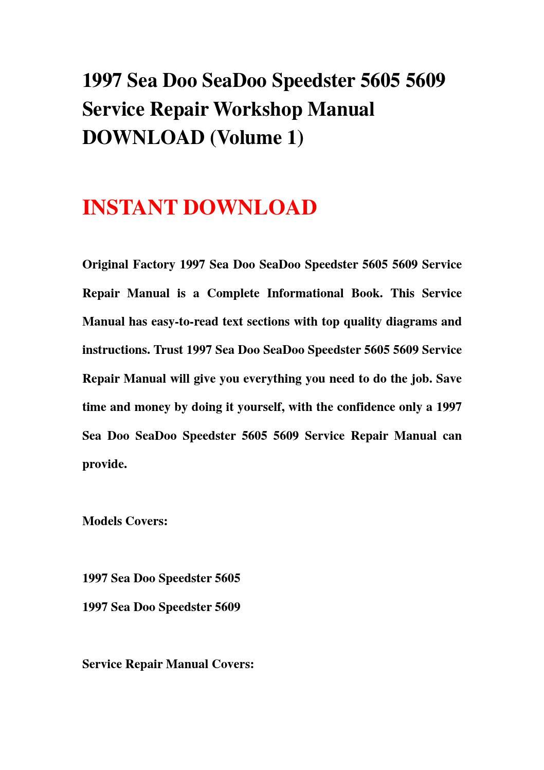 1997 sea doo seadoo speedster 5605 5609 service repair workshop manual  download (volume 1) by jjfhsbebf - issuu