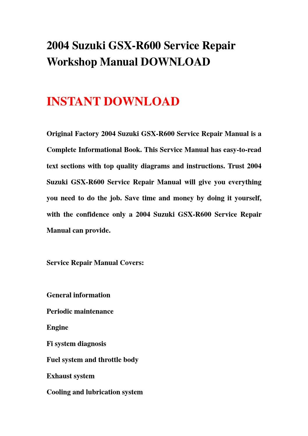 2004 suzuki gsx r600 service repair workshop manual download by jjfhsbebf -  issuu