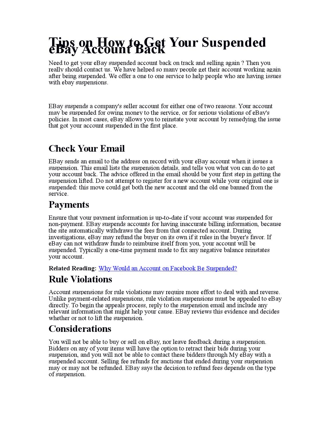 Tips On How To Get Your Suspended Ebay Account Back By Edwardshillrew Issuu