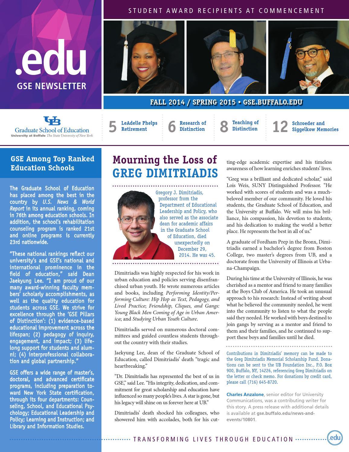 8ff5e3ae44a GSE .edu Alumni Newsletter - Fall 2014 Spring 2015 by UB GSE ...