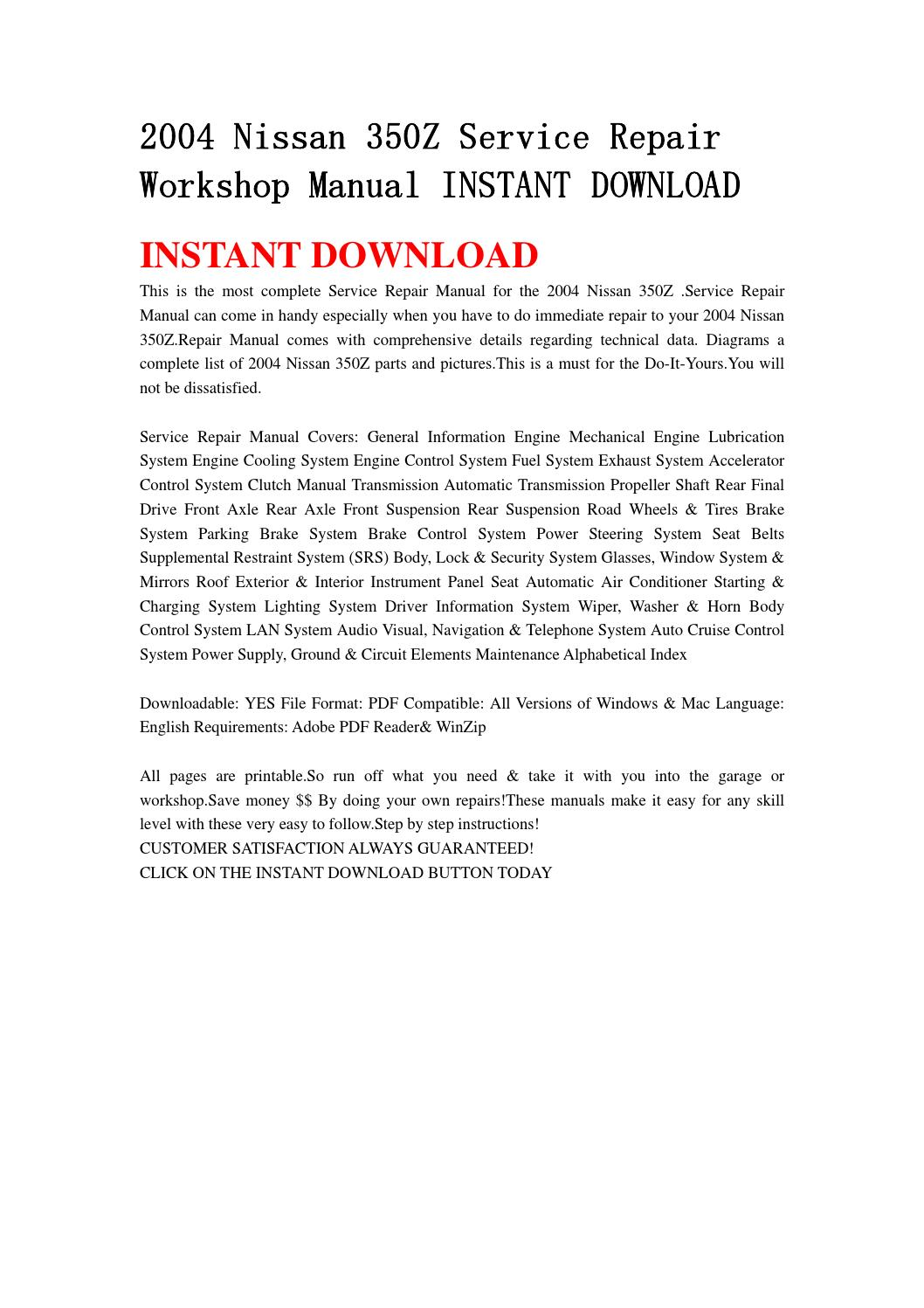 2004 nissan 350z service repair workshop manual instant download by  jjfhsbebf - issuu