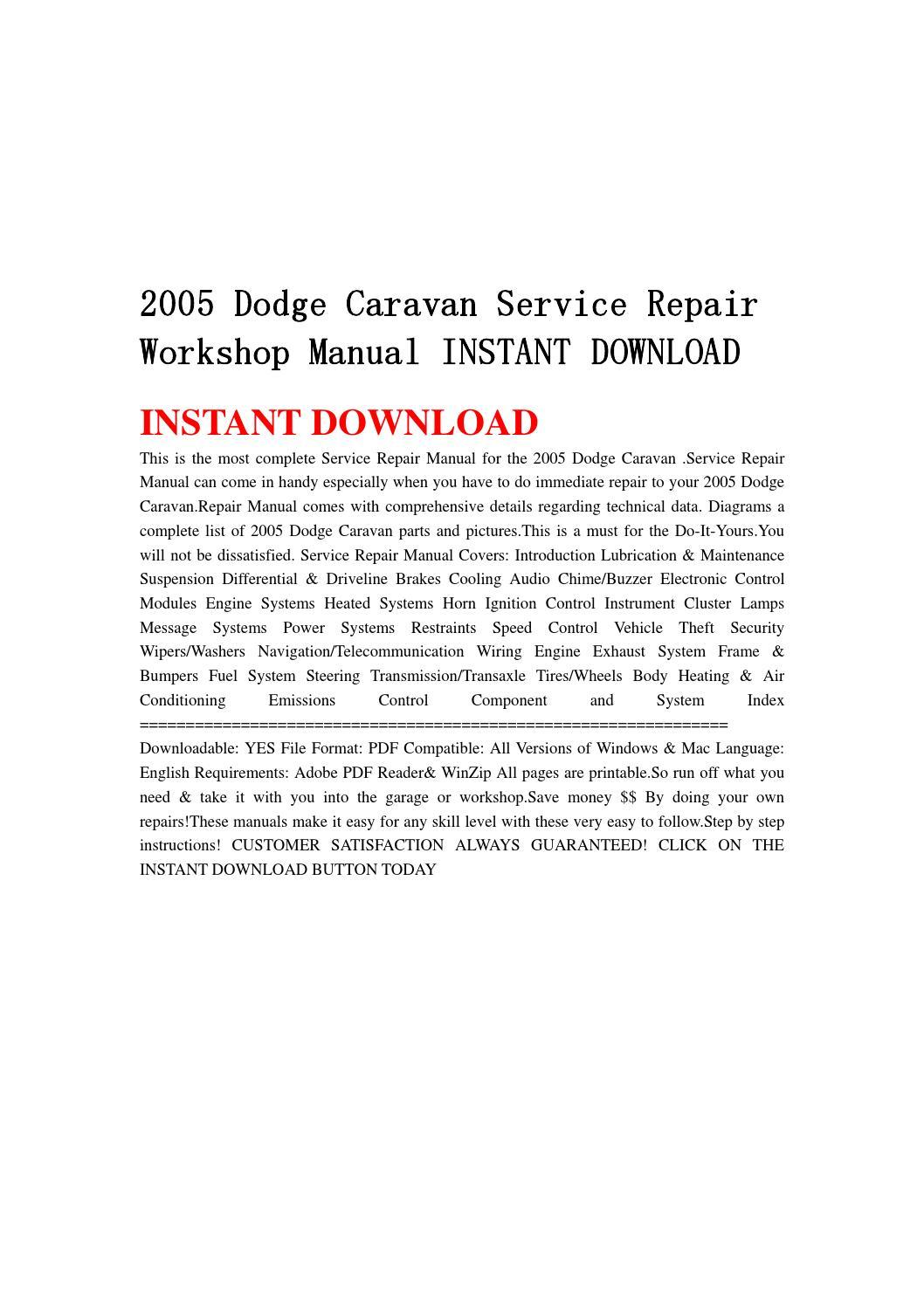 2005 dodge caravan service repair workshop manual instant download by  jjfhsbebf - issuu