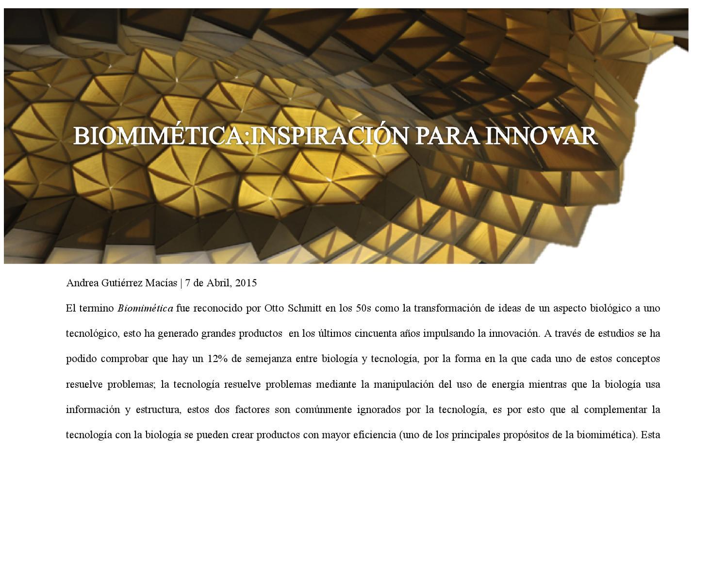 Biomimetica inspiracion para innovar by andrea gutierrez for Inspiracion sinonimo