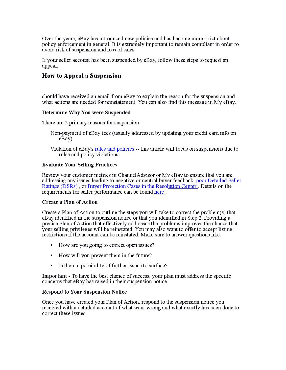 Ebay Reinstatement Efforts For Suspended Sellers By Simmonsrewq Issuu