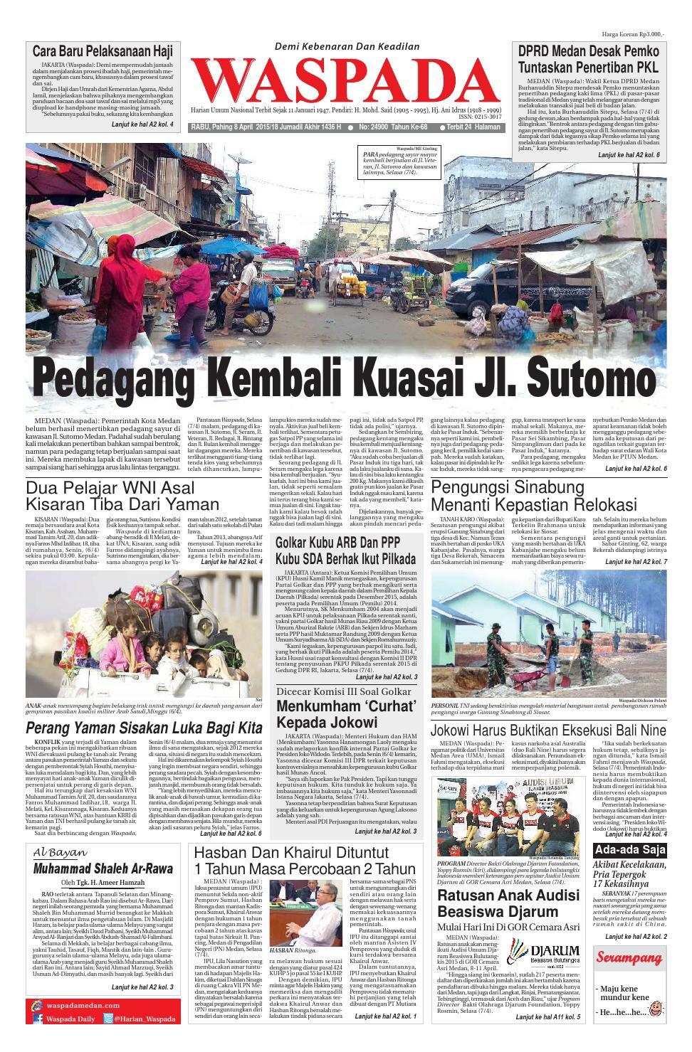 Waspada Rabu 8 April 2015 By Harian Issuu Produk Ukm Bumn Batik Lengan Panjang Parang Toko Ngremboko