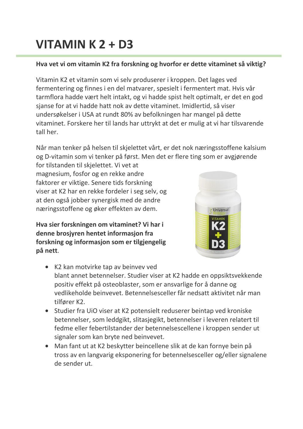 k2 vitamin forskning