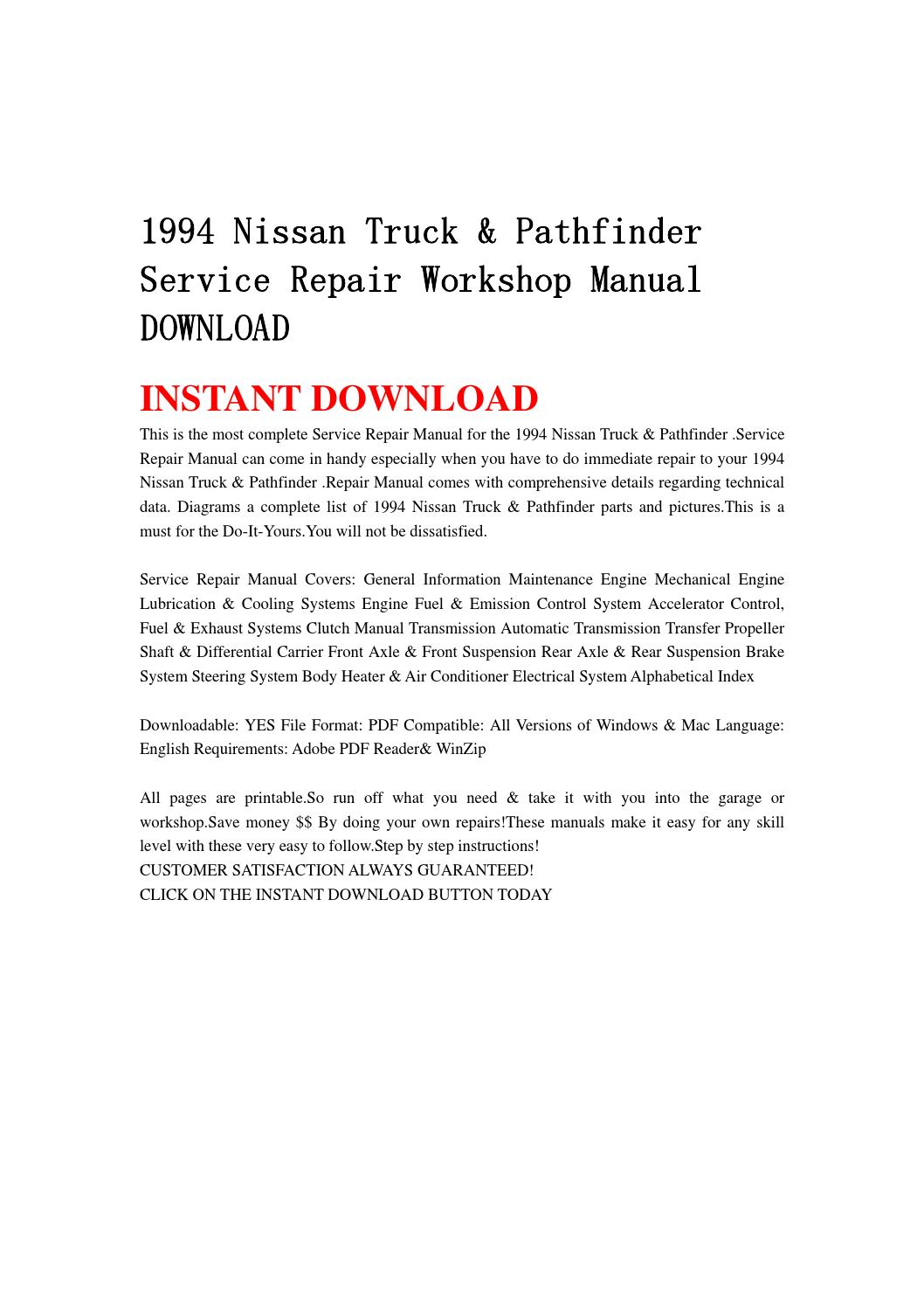 1994 Nissan Truck Pathfinder Service Repair Workshop Manual Engine Diagram Download By Jghdjrgn Issuu