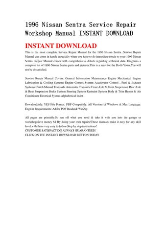 1996 nissan sentra service repair workshop manual instant. Black Bedroom Furniture Sets. Home Design Ideas