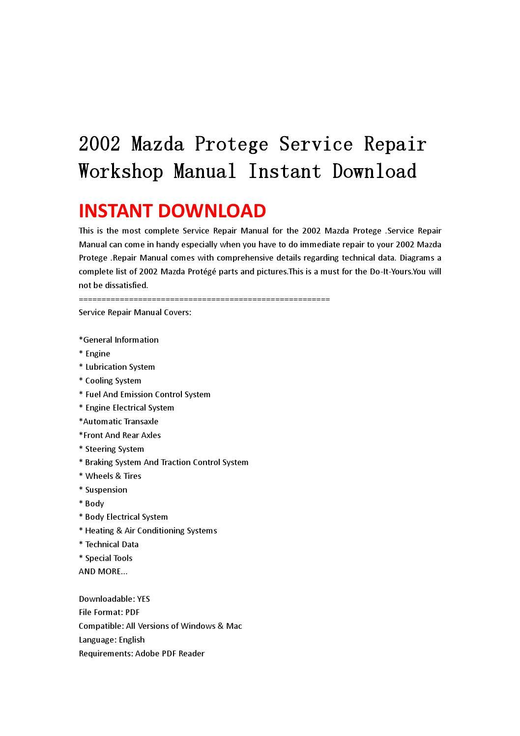 Mazda Protege Workshop Manual L DOHC PDF