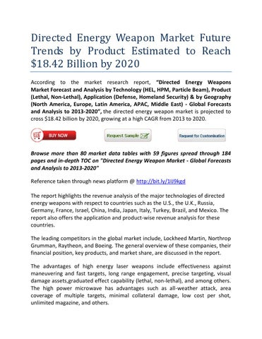 Directed energy weapon market future trends by product estimated to
