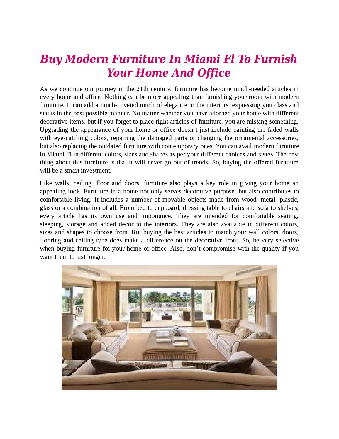 Buy modern furniture in miami fl to furnish your home and office by vivo moderna issuu