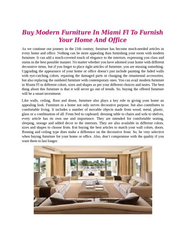 Buy Modern Furniture In Miami Fl To Furnish Your Home And Office As We  Continue Our Journey In The 21th Century, Furniture Has Become Much Needed  Articles ...