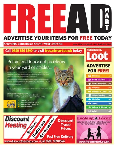 ADVERTISE YOUR ITEMS FOR FREE TODAY SOUTHERN (INCLUDING SOUTH WEST) EDITION