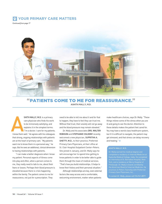 St  Clair Hospital HouseCall Vol VII Issue 1 by NFM + Dymun