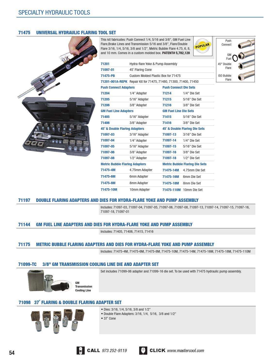 "MASTERCOOL 3//8/"" GM Transmission Cooling Line Die /& Adapter Set 71099-TC"