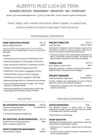 Curriculum Vitae By Alberto Ruiz Luca De Tena Issuu