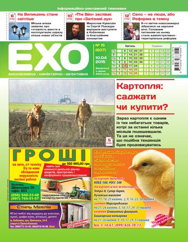 Газета «ЕХО» №15(607) by Тижневик «ЕХО» - issuu 6761c2f10732a
