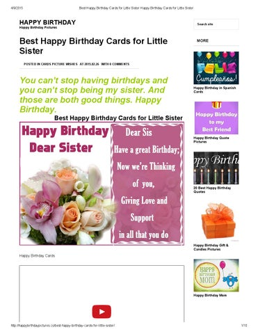 Page 1 4 9 2015 Best Happy Birthday Cards For Little Sister