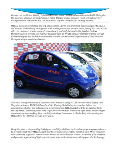 Carzonrent Launches Myles Franchise Program for Car Sharing
