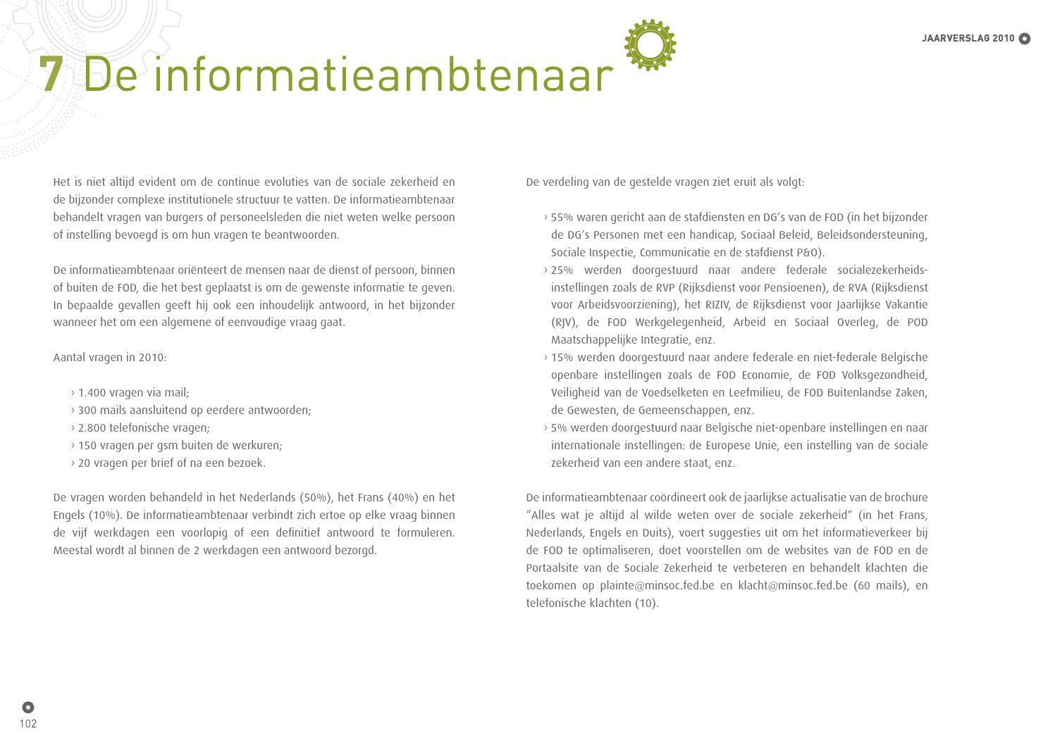 Jaarverslag Fod Sociale Zekerheid 2010 In Touch With Our