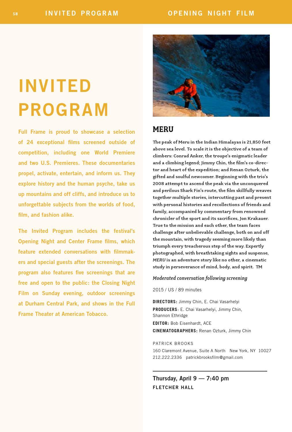 2015 Full Frame Documentary Film Festival - Official Program