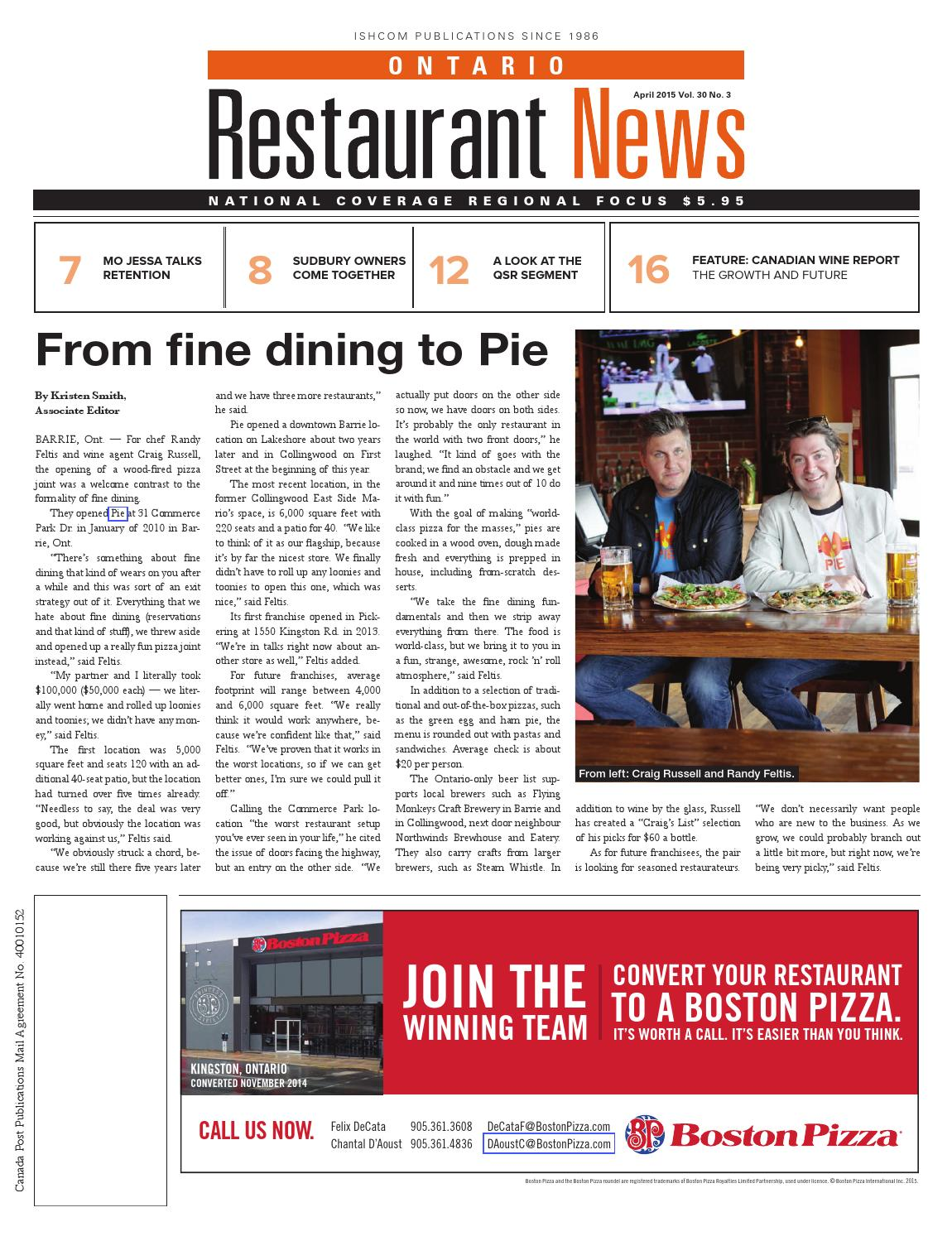Ontario Restaurant News - April 2015 by Ishcom Publications - issuu