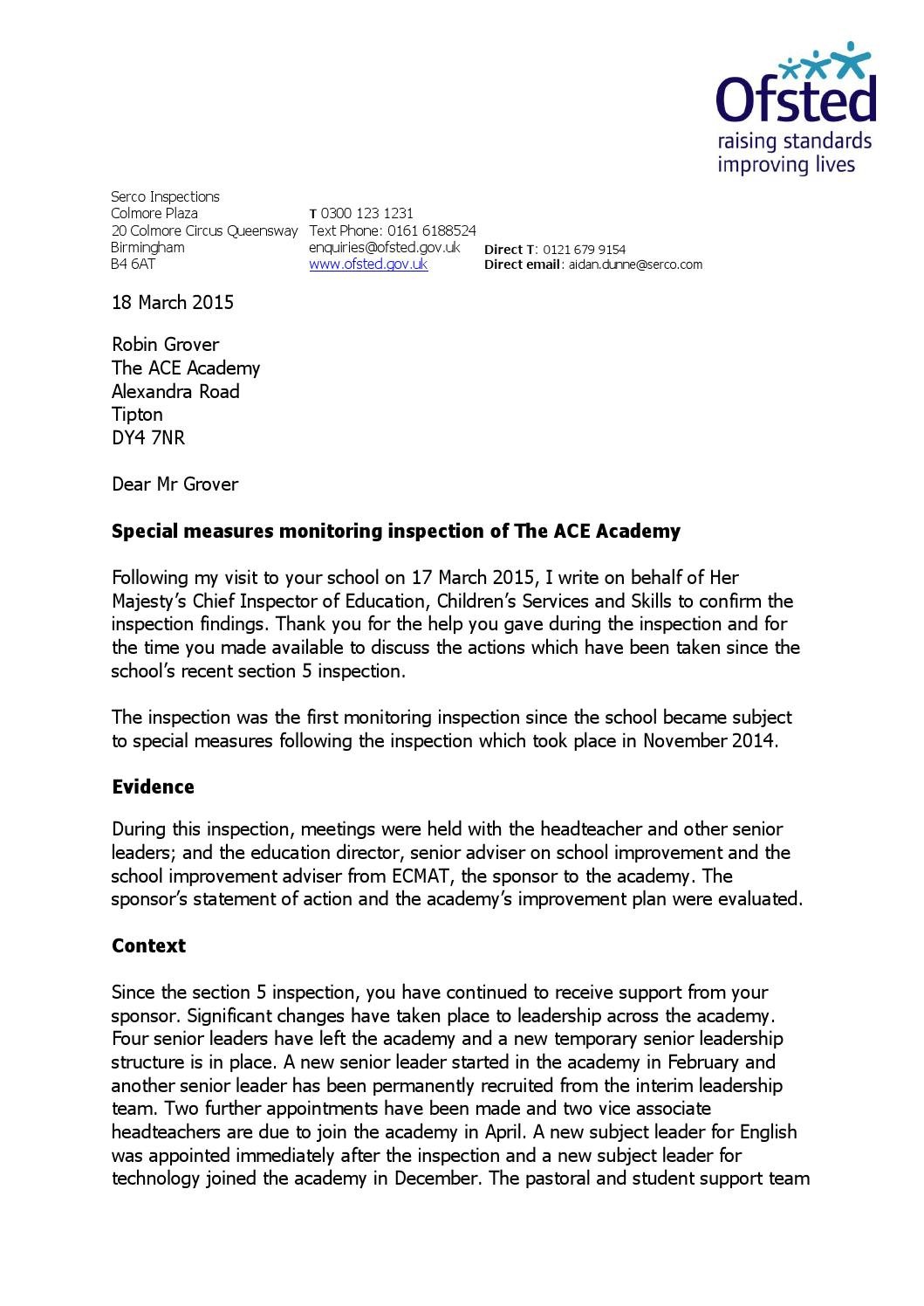 First Ofsted Monitoring Visit Letter by Schudio - issuu