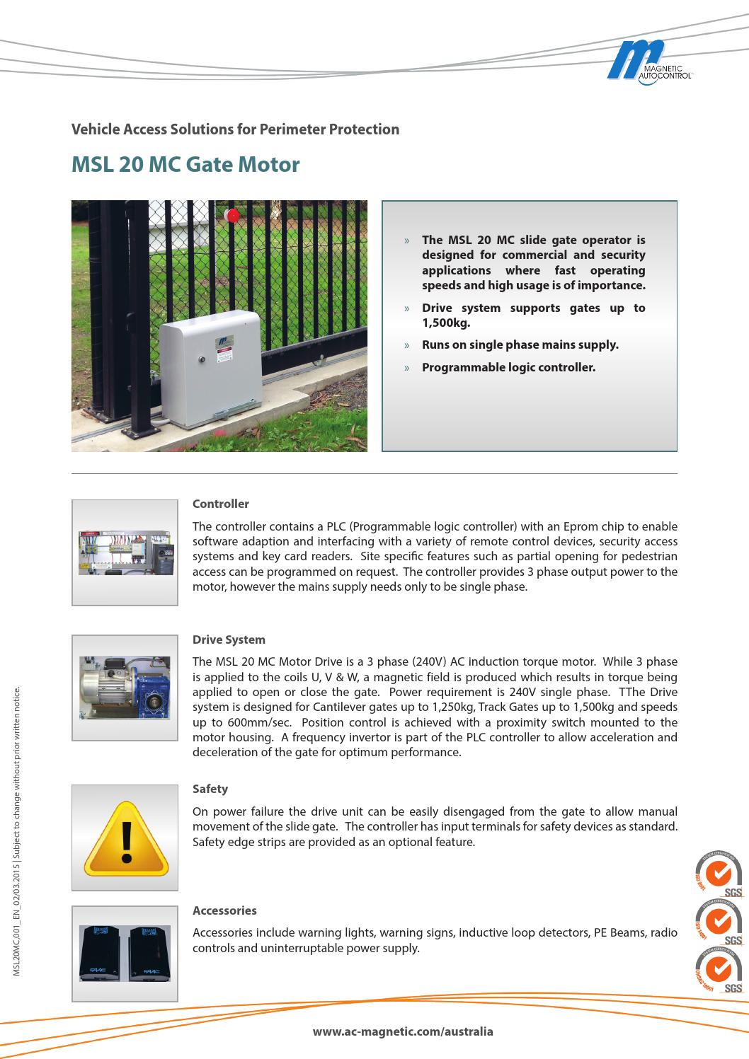 Msl 20mc gate motor ds 03 15 by Magnetic Automation Pty Ltd