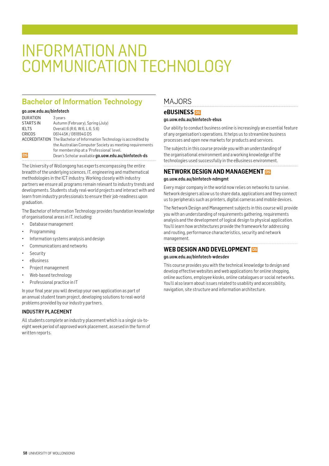UOW International Undergraduate Guide 2016