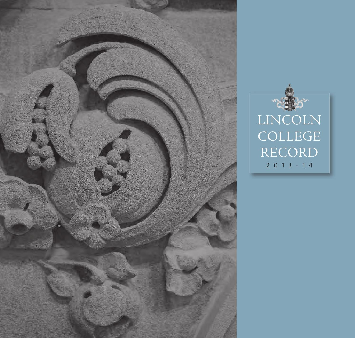 Lincoln record (2014) [f] [web] by Lincoln College - issuu