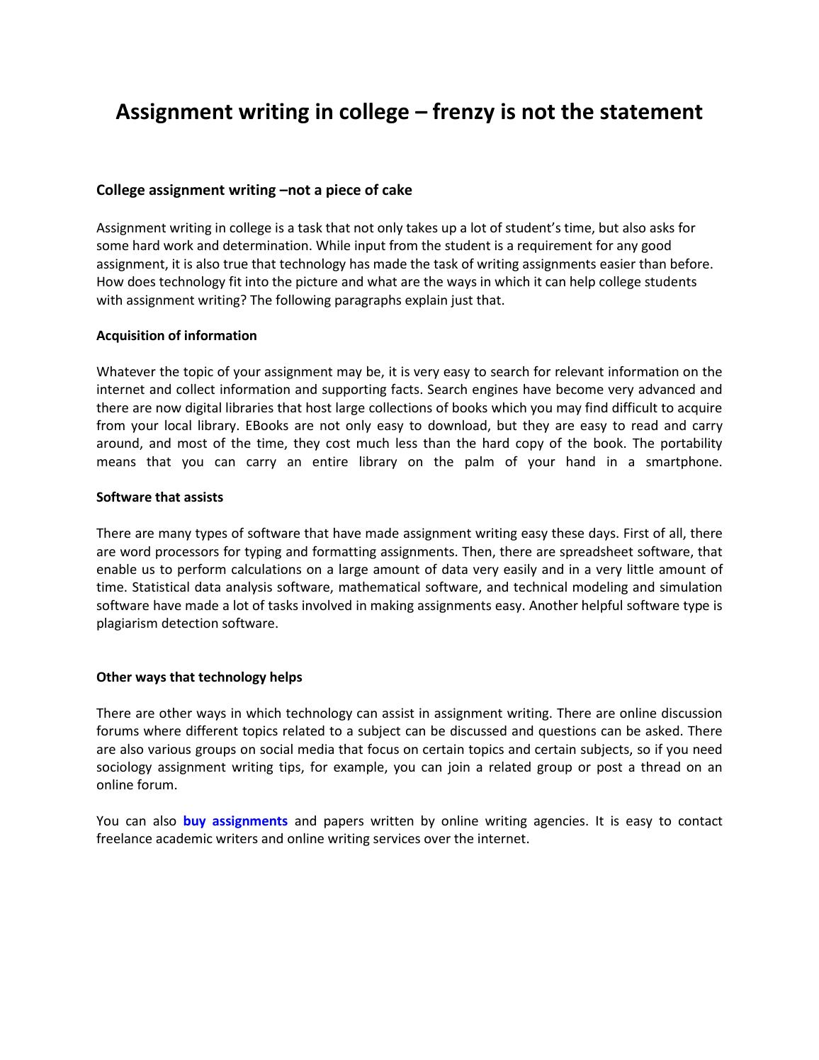 Assignment writing in college by Buy Assignment Service - issuu