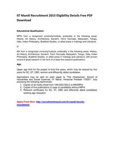 IIT Mandi Recruitment 2015 Eligibility Details Free PDF