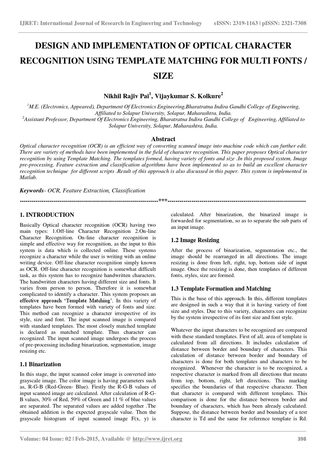 Design and implementation of optical character recognition