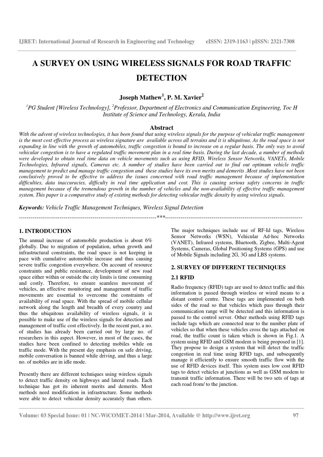 A survey on using wireless signals for road traffic detection by