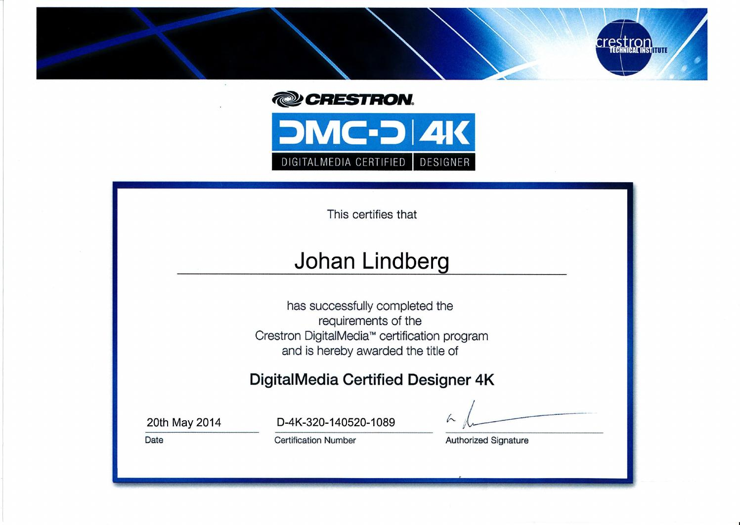 Certifikat Johan Lindberg - Crestron DigitalMedia Certified Designer ...