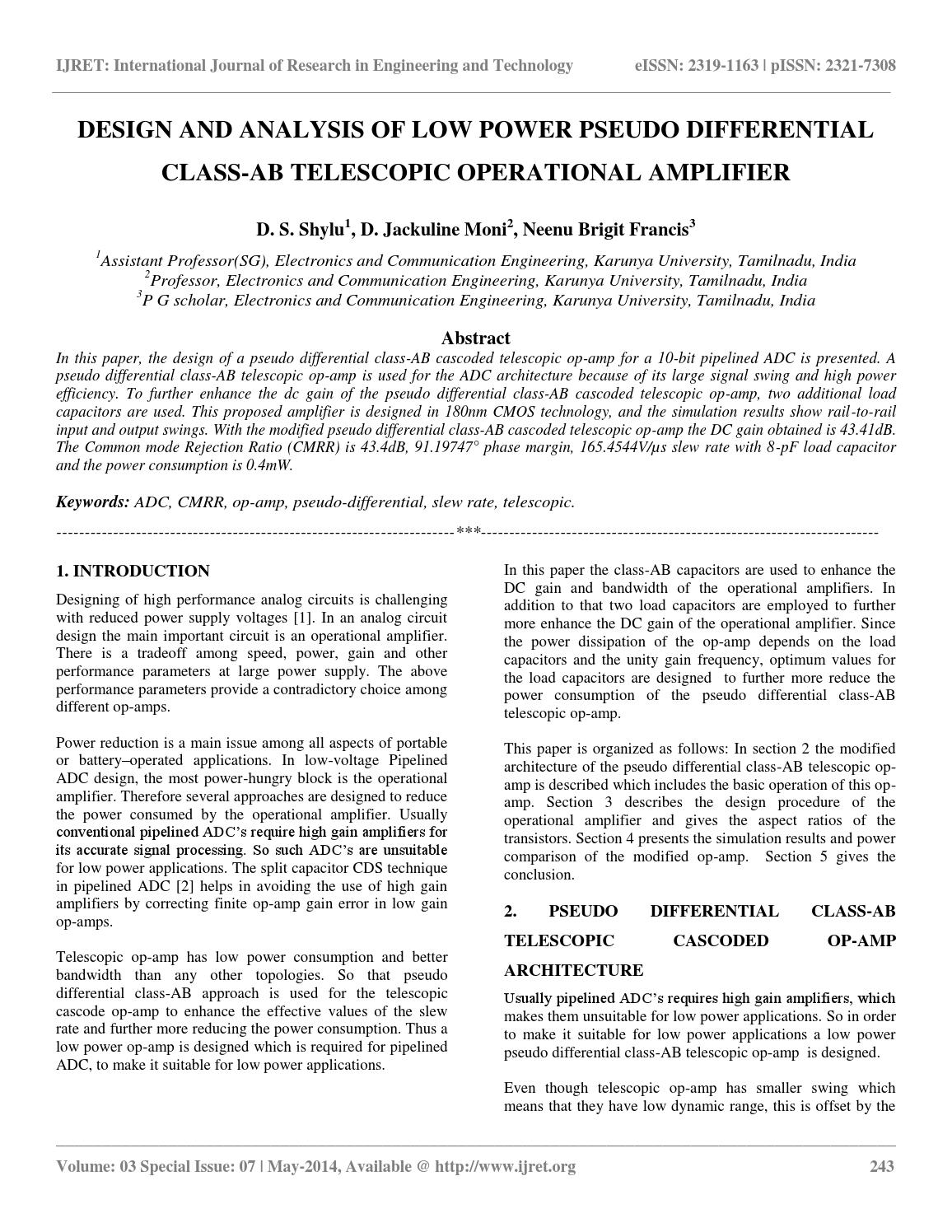 Design And Analysis Of Low Power Pseudo Differential Class Ab Op Amp Circuit Telescopic Operational Amplifier By Esat Journals Issuu