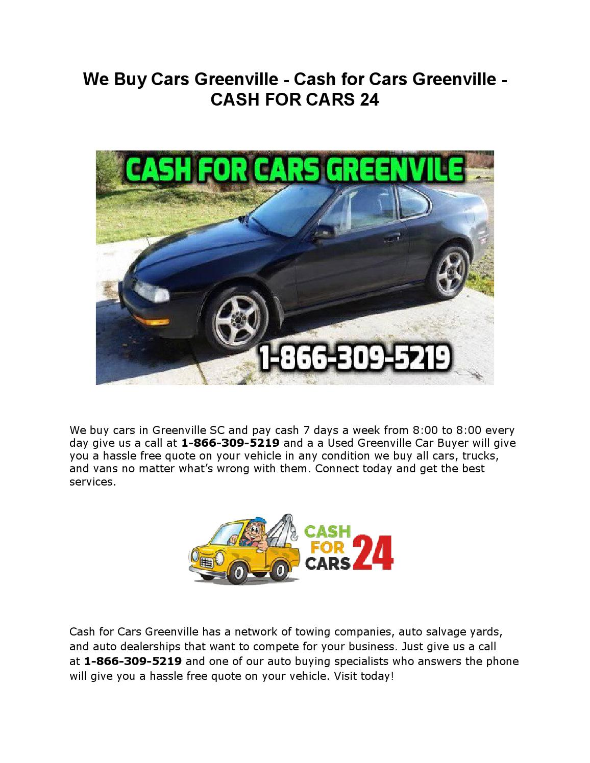 Sell my car greenville we buy cars greenville by Carsgreenville - issuu