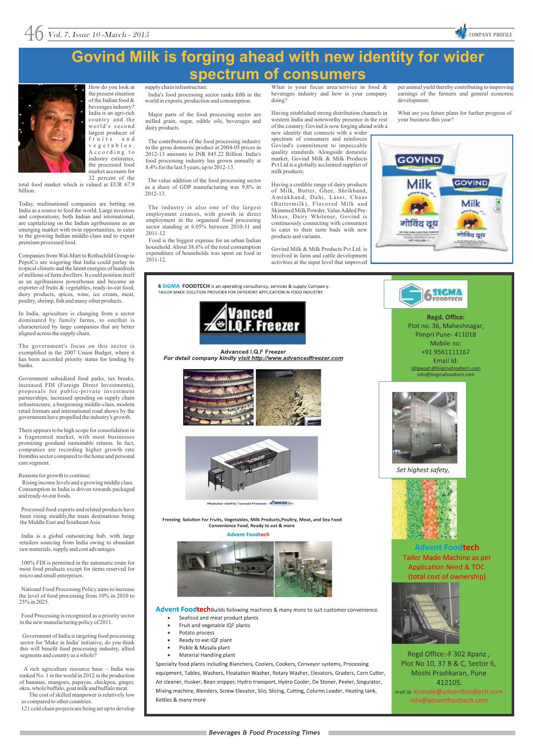 Beverages & Food Processing Times March 2015 by Advance Info