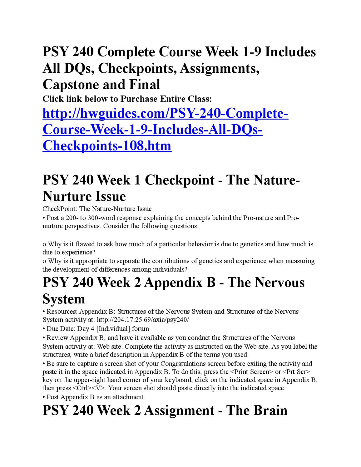 psy 240 appendix d Snaptutorial is a online tutorial store we provides psy 240 week 8 checkpoint cerebral lateralization and functionality  use the table from appendix e and fill in.