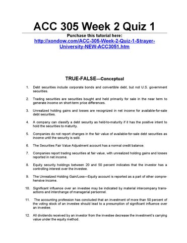 ACC 304 Week 2 Quiz – Strayer NEW